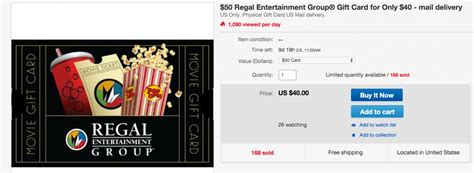 Regal Movie Gift Cards - 10 free towards your next flick regal 50 movie gift card for 40 shipped plus more