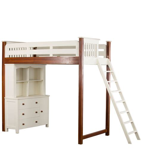 Bunk Bed With Single Futon And Desk by Buy Single Bunk Bed With Desk And Hutch Dresser By Pink Guppy Bunk Beds Beds Pepperfry