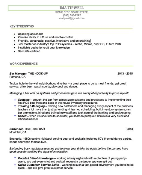 Bartender Resume by Bartenders Resume Writing Service We Tailor The Resume To You