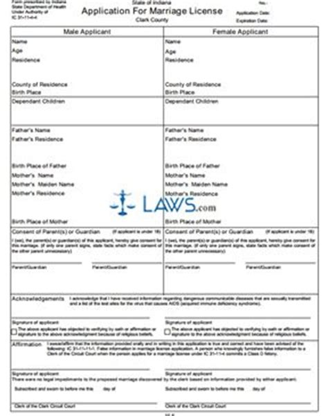 Mohave County Divorce Records Form 53420 Application For Marriage License Electronic Version For Counties Indiana