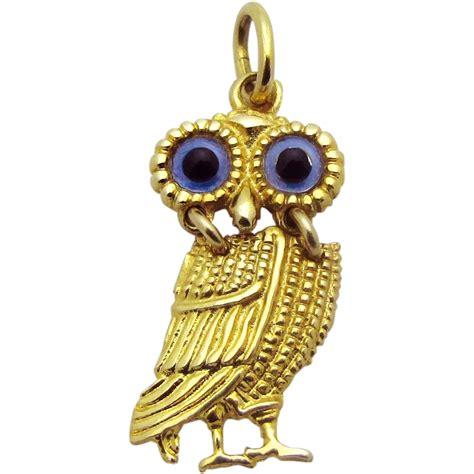 Owl Gold vintage 14k gold movable blue eyed owl charm articulated