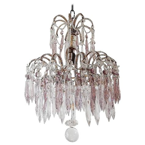 Italian Micro Beaded Purple Lavender Crystal Prisms Purple Chandeliers