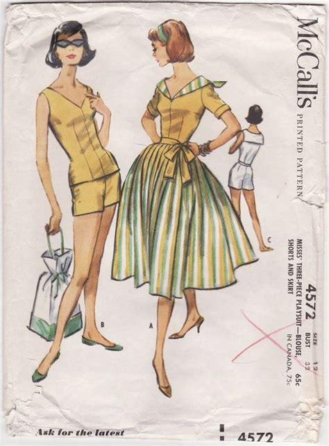 Blouse B 1958 1950s playsuit pattern mccall s 4572 dart fitted blouse high waist shorts pleated skirt