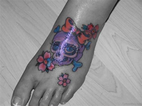 skull and flower tattoos 50 outstanding skull tattoos on foot