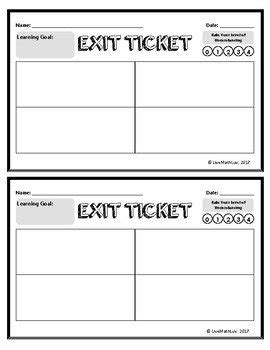 Exit Card Template by Exit Ticket Template Journalingsage