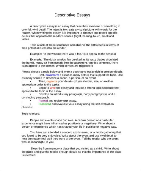 Writing An Essay In Person by Descriptive Writing Essay On A Place Writing A Descriptive Essay Auto Spray Painter Resume