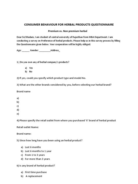 Consumer Preference Questionnaire In Mba Project by Questionnaire Herbal Product