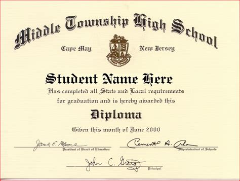 high school diploma template with seal high school diploma