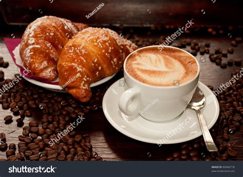 Cappucino Coffee Bean cappuccino croissant coffee bean stock photo 80406718