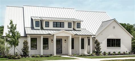 white house custom color modern farm house la cantera metal roof white painted