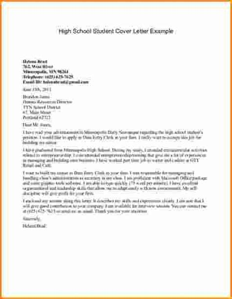 Cover Letter College 9 High School Student Cover Letter Sles Invoice