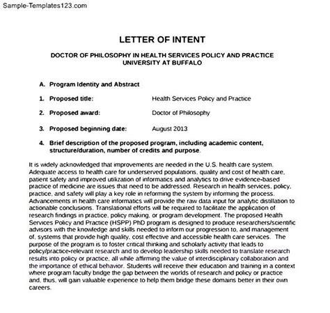Letter Of Intent Template College Free Letter Of Intent School Sle Templates