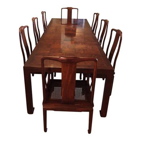 henredon asian modern walnut dining set chairish