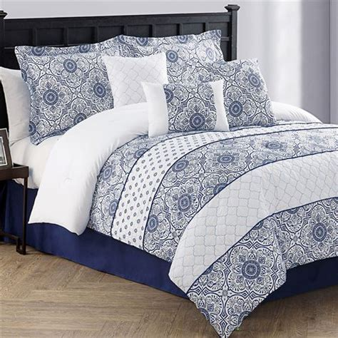 navy blue bed sets lucille 7 pc navy blue comforter bed set