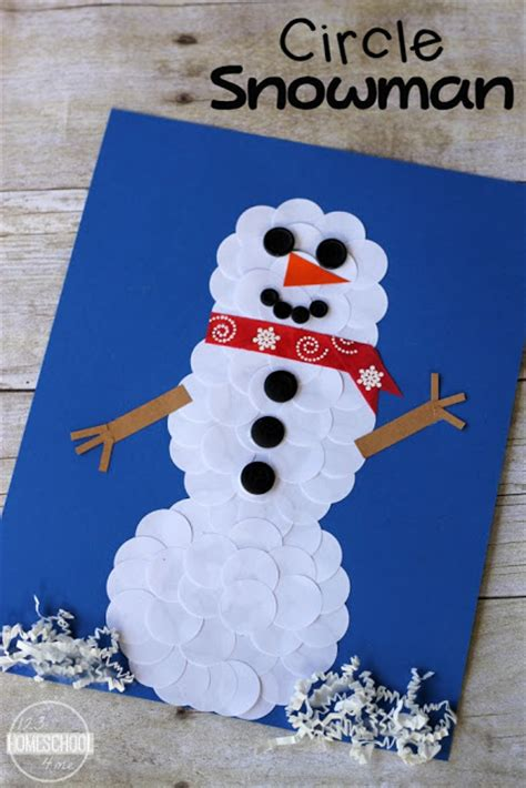 january craft ideas for circle snowman winter craft
