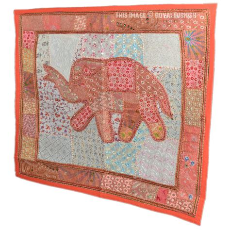 Patchwork Tapestry - orange indian elephant patchwork tapestry wall hanging