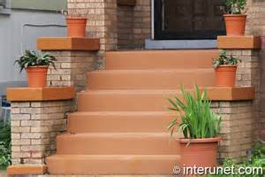 build front porch concrete stairs and front porch painted in brownish color stairs