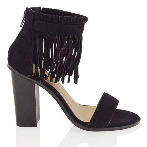 fringe heel sandals new womens ankle fringe block heel peep to