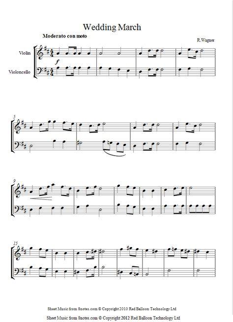 Wedding Song On Violin by Wagner Wedding March Sheet For Violin Cello Duet