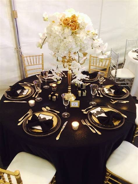 black and gold table setting themes welcome to wedding s
