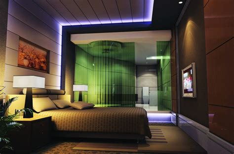 night for bedroom lighting night rendering 3d of modern bedroom download