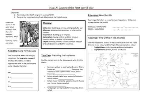 Wwi Worksheets by What Were The M A I N Causes Of Wwi By Ccking Uk