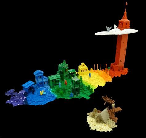 Arc En Ciel Decor by D 233 Cor Arc En Ciel Et Minifigs Monochromes Hellobricks