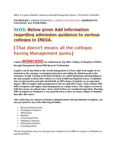 Mba In Logistics In Mumbai by Mba In Logistics In Mumbai Mba Pgdm Admission