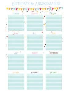 Birthday list template birthdays amp anniversaries on