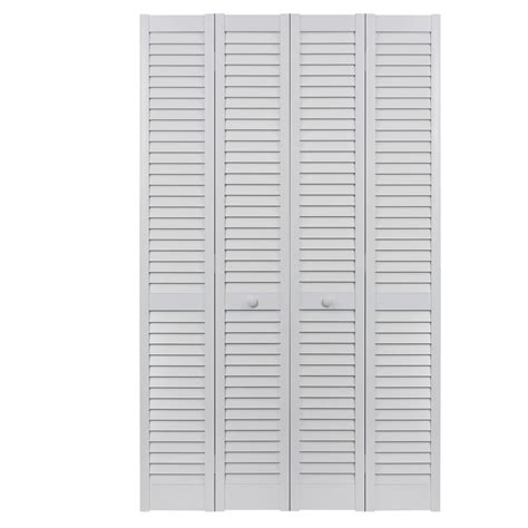 48 Bi Fold Closet Doors Pinecroft 48 In X 80 In Seabrooke Louver Louver White Hollow Pvc Vinyl Interior Bi Fold