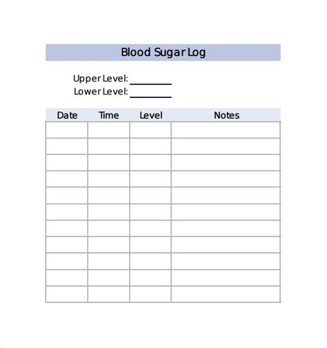 blood sugar log template sle blood sugar log template 8 free documents in pdf