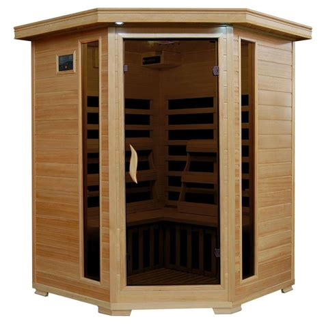 infrared sauna radiant sauna 3 person hemlock corner infrared sauna with