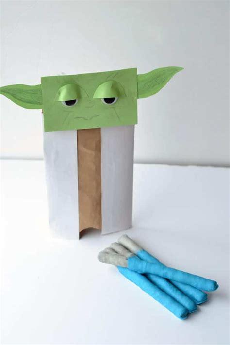 Paper Bag Puppet Craft - yoda paper bag puppet glue sticks and gumdrops