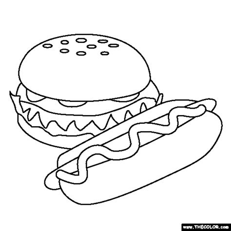 coloring pages of hot dogs fast food online coloring pages page 1