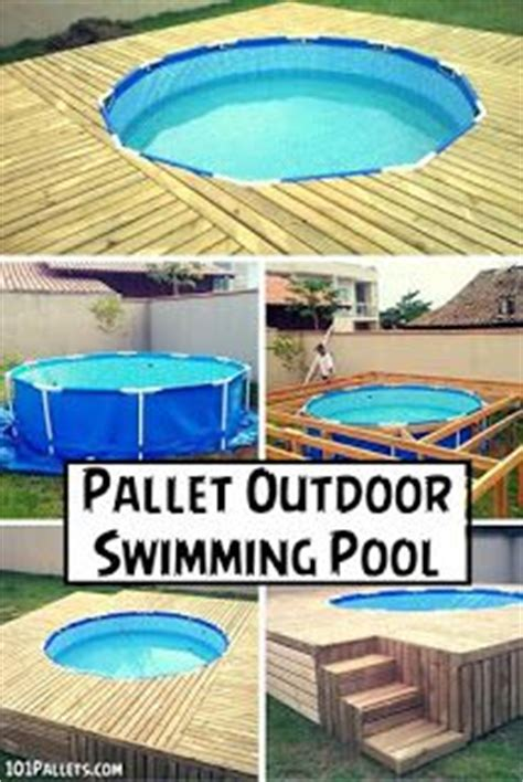 ground pool deck   pallets pallets
