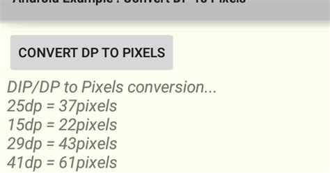 Android Dp To Pixels by Android How To Convert Dp To Pixels