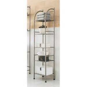 brushed nickel bathroom shelving unit threshold metal towel tower brushed nickel target