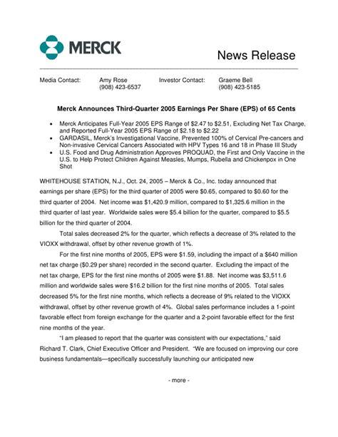 merck licensing press release merck 3q05 earnings release