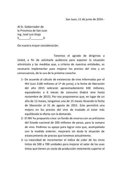 Nota pedido de audiencia gobernador gioja (junio 2014)