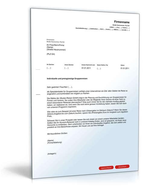 Musterbriefe Unternehmen Werbebrief F 252 R Einen Busreiseveranstalter Muster Vorlage Zum