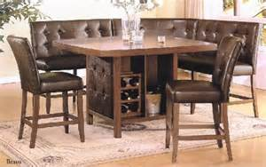Dining Table Booth Style Home Office Furniture 6 Pc Walnut Finish Wood Counter