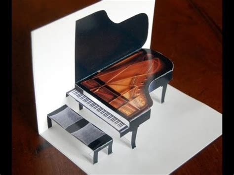 baby grand piano template piano pop up