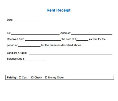 Rent Receipt Letter For Taxes 7 Rent Receipt Templates Free Sles Exles Format