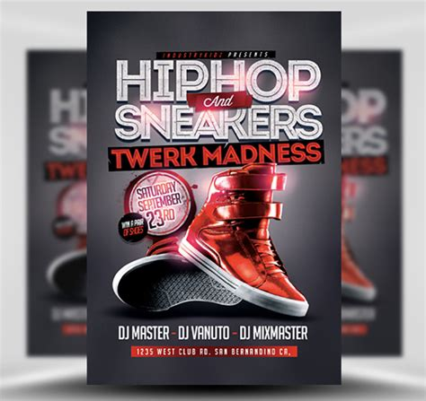 template flyer hip hop hip hop and sneakers flyer template flyerheroes