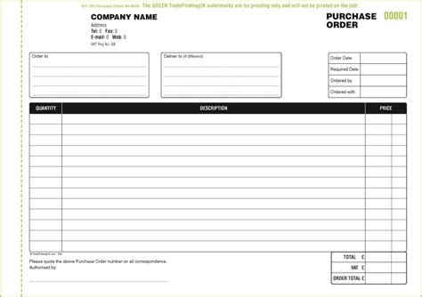 free purchase order books templates purchase order books