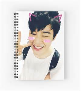 Designer Duvet Cover Quot Bts Jimin Kawaii Selca Sticker Quot Spiral Notebooks By