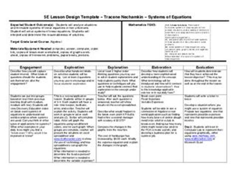 5 e lesson plan template for math 5e lesson plan systems of equations by wylie east high