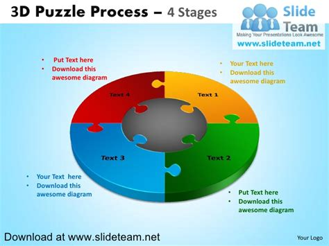 3 D Puzzle Pieces Connected Jigsaw 4 Stages Powerpoint Diagrams And Powerpoint Jigsaw Template 2