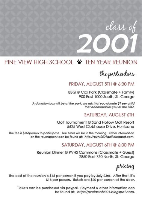 Class Reunion Program Template class reunion ideas class reunion invitation templates