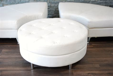round white leather ottoman white leather tufted ottoman platinum event rentals